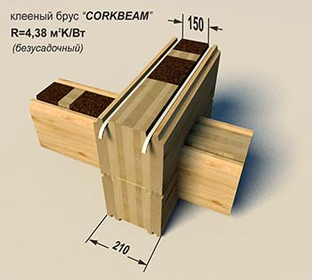 Glued laminated timber with cork «Corkbeam» 210 mm (unshrinkable)