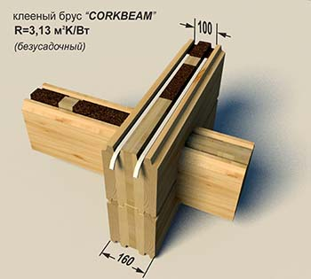 Glued laminated timber with cork «Corkbeam» 160 mm (unshrinkable)