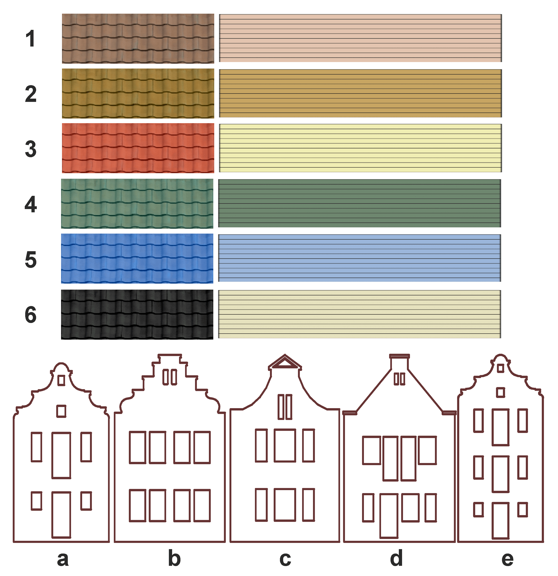 Versions of the forms and colors of the roof of the house