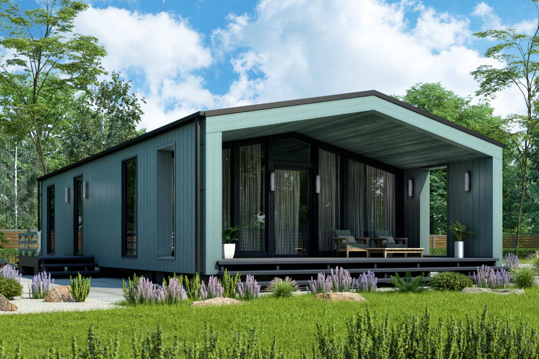 Prefabricated houses fachwerk of glued laminated lumber production «Promstroyles»