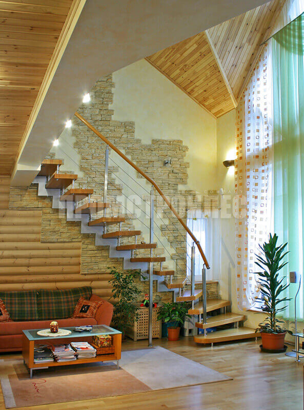 Ready-made wooden stairs in the frame house