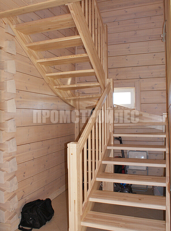 The stairs in the house from glued beams
